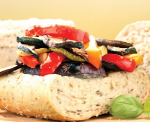 Grilled Vegetables with Basil and Goat Cheese