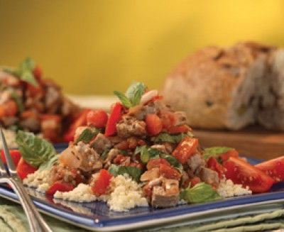 Caraway Crusted pork Tenderloin with Fresh Tomatoes and Onions