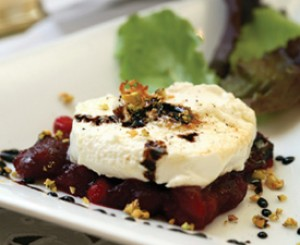 Warm Goat Cheese on Cranberries  with Balsamic Port  Wine Dressing