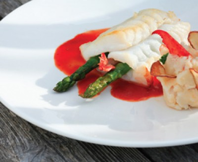 Monkfish Stuffed with Asparagus and Shrimp