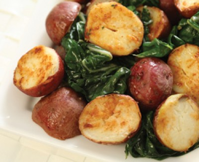 Red Potatoes with Wilted Greens