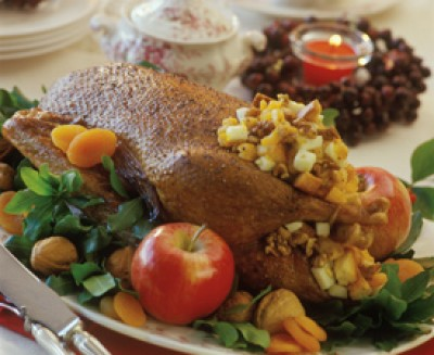 Roast Goose with Fruit and Nut Stuffing