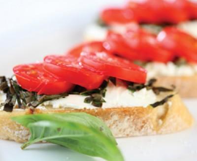 Sweet Basil, Tomato and Goat Cheese Crustini