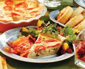 Tomato, Green Onion and Ham Pie