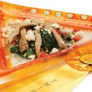 Hot Spinach Salad with Pork Strips