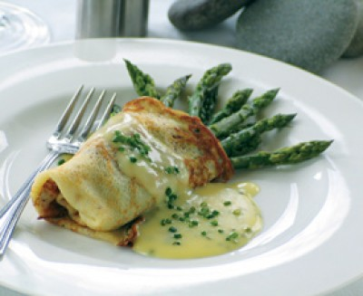 Asparagus Crepes with Chive Hollandaise