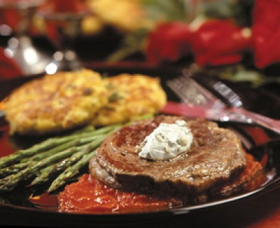 Rib-Eye Steaks with Blue Cheese and Red Pepper Coulis