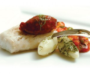 """Roasted Cod  with Warm Tomato Dill """"Jam"""""""
